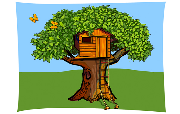 Illustration Baum mit Baumhaus